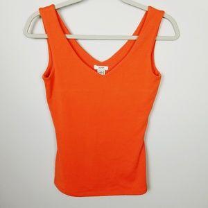 Cache Orange V-Neck Tank Top Size Small